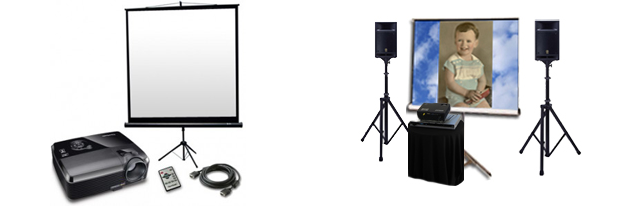 Projector, screen and sound speakers rental